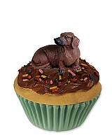 Dachshund Red Pupcake Trinket Box