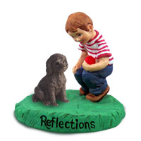 Labradoodle Chocolate Reflections w/Boy Figurine