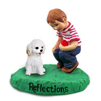Cockapoo White Reflections w/Boy Figurine