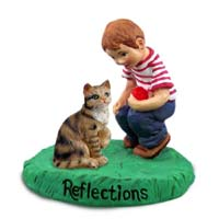 Brown Shorthaired Tabby Cat w/Boy Figurine