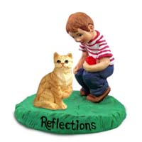 Red Shorthaired Tabby Cat w/Boy Figurine