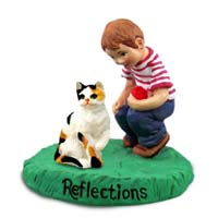 Calico Shorthaired Cat w/Boy Figurine