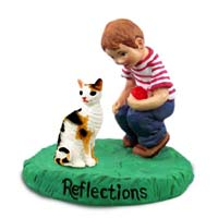 Tortoise & White Cornish Rex Cat w/Boy Figurine