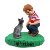 Blue Cornish Rex Cat w/Boy Figurine
