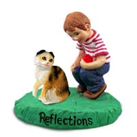 Tortoise & White Scottish Fold Cat w/Boy Figurine