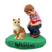 Red Tabby Manx Cat w/Boy Figurine