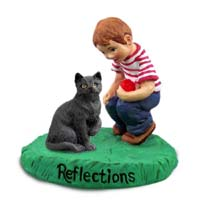 Black Shorthaired Tabby Cat w/Boy Figurine