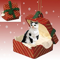 Black & White Shorthaired Tabby Cat Gift Box Red Ornament