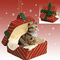 Brown Shorthaired Tabby Cat Gift Box Red Ornament