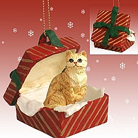 Red Shorthaired Tabby Cat Gift Box Red Ornament