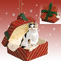 Calico Shorthaired Gift Box Red Ornament