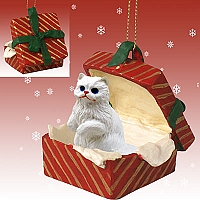 White Persian Gift Box Red Ornament