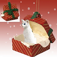 White Oriental Shorthaired Gift Box Red Ornament