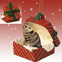 Brown Tabby Scottish Fold Gift Box Red Ornament