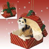 Tortoise & White Scottish Fold Gift Box Red Ornament