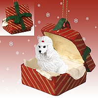 Poodle White Gift Box Red Ornament