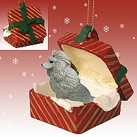Poodle Gray Gift Box Red Ornament
