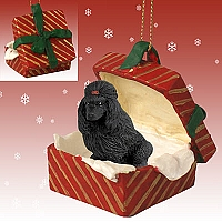 Poodle Black Gift Box Red Ornament