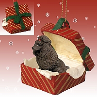 Poodle Chocolate Gift Box Red Ornament