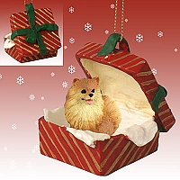 Pomeranian Red Gift Box Red Ornament