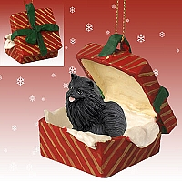 Pomeranian Black Gift Box Red Ornament
