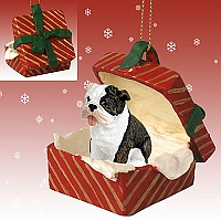 Bulldog Brindle Gift Box Red Ornament