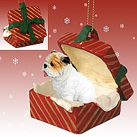 Bulldog White Gift Box Red Ornament