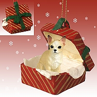 Chihuahua Tan & White Gift Box Red Ornament