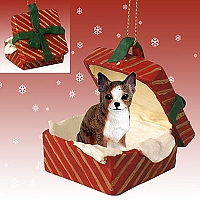 Chihuahua Brindle & White Gift Box Red Ornament