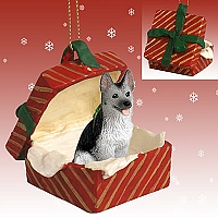 German Shepherd Black & Silver Gift Box Red Ornament
