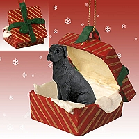 Great Dane Black w/Uncropped Ears Gift Box Red Ornament
