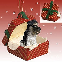 Schnauzer Gray w/Uncropped Ears Gift Box Red Ornament
