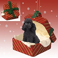 Poodle Black w/Sport Cut Gift Box Red Ornament