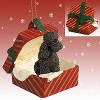 Poodle Chocolate w/Sport Cut Gift Box Red Ornament