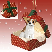 Jack Russell Terrier Brown & White w/Smooth Coat Gift Box Red Ornament
