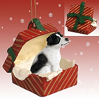 Jack Russell Terrier Black & White w/Smooth Coat Gift Box Red Ornament
