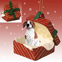 Pointer Brown & White Gift Box Red Ornament