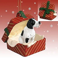Pointer Black & White Gift Box Red Ornament