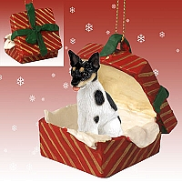 Rat Terrier Gift Box Red Ornament