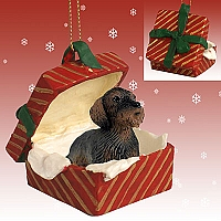Wire Haired Dachshund Red Gift Box Ornament