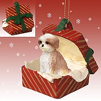 Shih Tzu Tan w/Sport Cut Gift Box Red Ornament