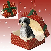 Shih Tzu Black & White w/Sport Cut Gift Box Red Ornament