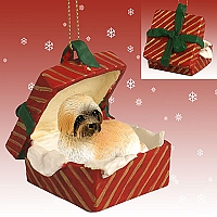 Lhasa Apso Brown w/Sport Cut Gift Box Red Ornament