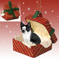 Boston Terrier Gift Box Red Ornament
