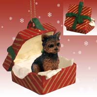 Yorkshire Terrier Puppy Cut Gift Box Red Ornament
