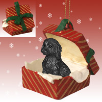 Labradoodle Black Gift Box Red Ornament
