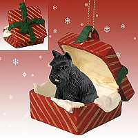 Schnauzer Black Gift Box Red Ornament