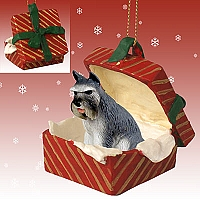 Schnauzer Gray Gift Box Red Ornament