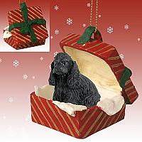 Cocker Spaniel Black Gift Box Red Ornament