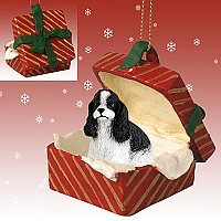 Cocker Spaniel Black & White Gift Box Red Ornament